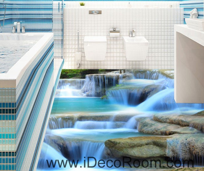 Waterfall Pool Stage 00094 Floor Decals 3D Wallpaper Wall Mural Stickers Print Art Bathroom Decor Living Room Kitchen Waterproof Business Home Office Gift
