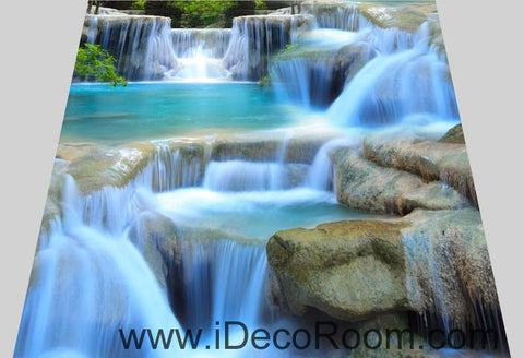 Image of Waterfall Pool Stage 00094 Floor Decals 3D Wallpaper Wall Mural Stickers Print Art Bathroom Decor Living Room Kitchen Waterproof Business Home Office Gift