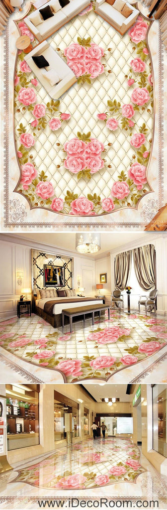 Pink Rose Flower Pattern 00095 Floor Decals 3D Wallpaper Wall Mural Stickers Print Art Bathroom Decor Living Room Kitchen Waterproof Business Home Office Gift