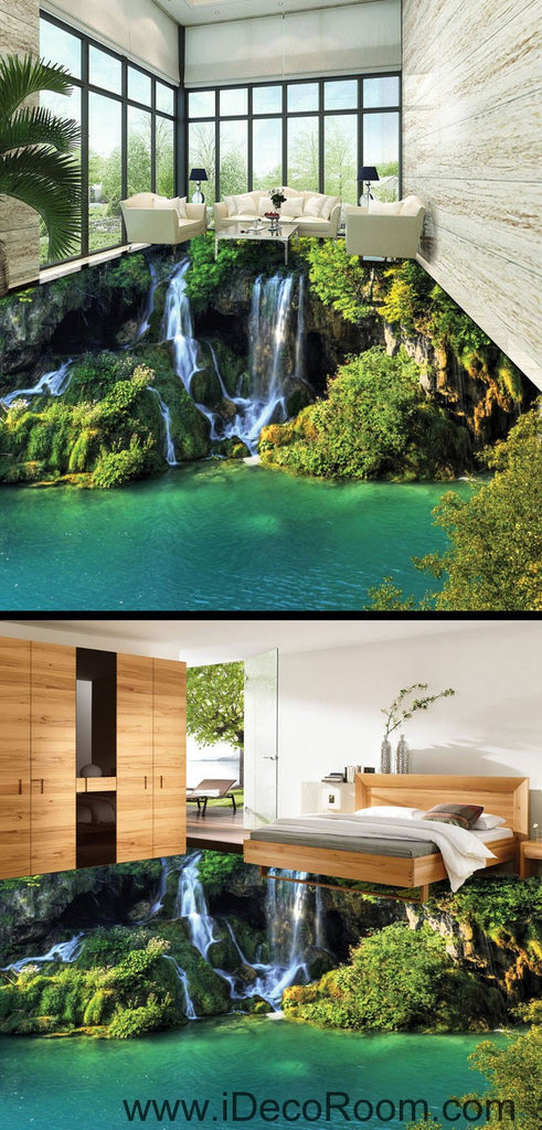 Waterfall Cliff Green Mountain 00096 Floor Decals 3D Wallpaper Wall Mural Stickers Print Art Bathroom Decor Living Room Kitchen Waterproof Business Home Office Gift
