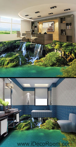 Image of Waterfall Cliff Green Mountain 00096 Floor Decals 3D Wallpaper Wall Mural Stickers Print Art Bathroom Decor Living Room Kitchen Waterproof Business Home Office Gift