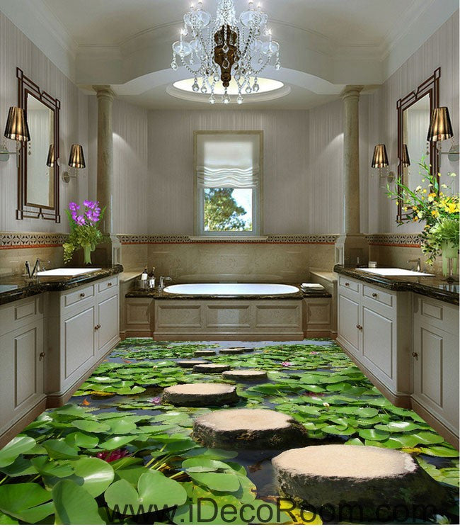 Lilypad pond stone stage fish 00097 floor decals 3d for Home decor 3d wallpaper