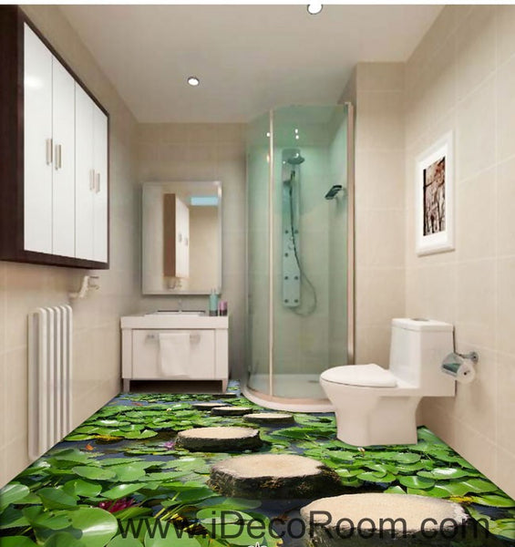 Lilypad pond stone stage fish 00097 floor decals 3d for 3d wallpaper for kitchen walls