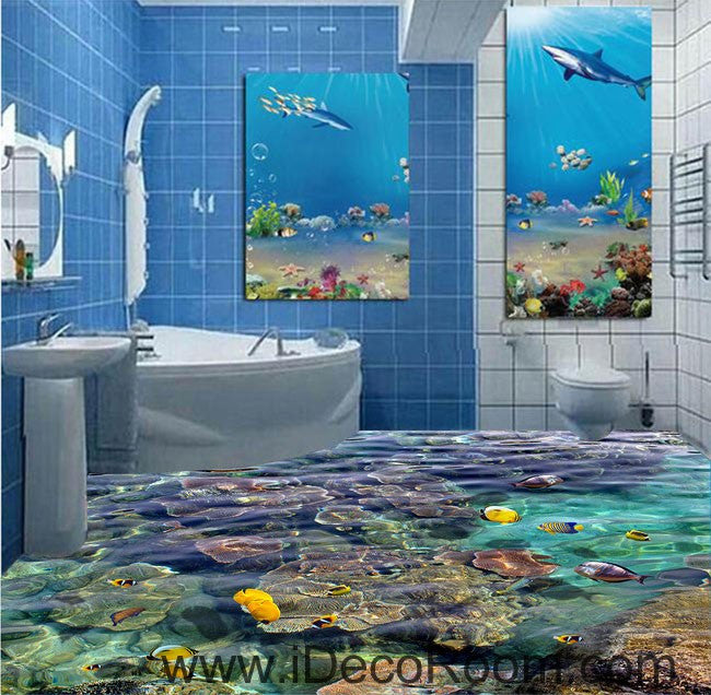 Sponge Fish Rock Tropical Ocean 00099 Floor Decals 3D Wallpaper Wall Mural Stickers Print Art Bathroom Decor Living Room Kitchen Waterproof Business Home Office Gift