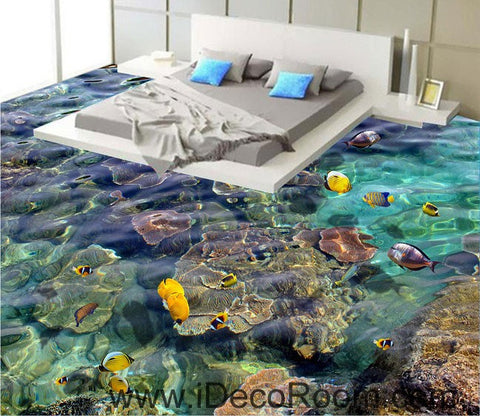 Image of Sponge Fish Rock Tropical Ocean 00099 Floor Decals 3D Wallpaper Wall Mural Stickers Print Art Bathroom Decor Living Room Kitchen Waterproof Business Home Office Gift