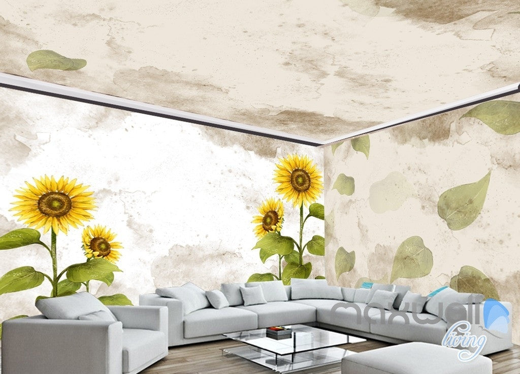 Fashion hand painted sunflower entire room wallpaper wall mural