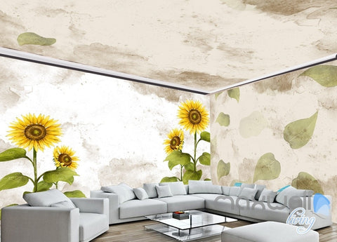 Image of Fashion hand painted sunflower entire room wallpaper wall mural decal IDCQW-000006
