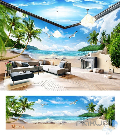 Image of Blue sky white clouds beach sea  entire room wallpaper wall mural decal IDCQW-000011