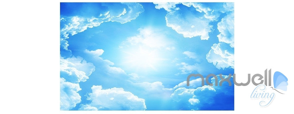 Blue sky white clouds beach sea  entire room wallpaper wall mural decal IDCQW-000011