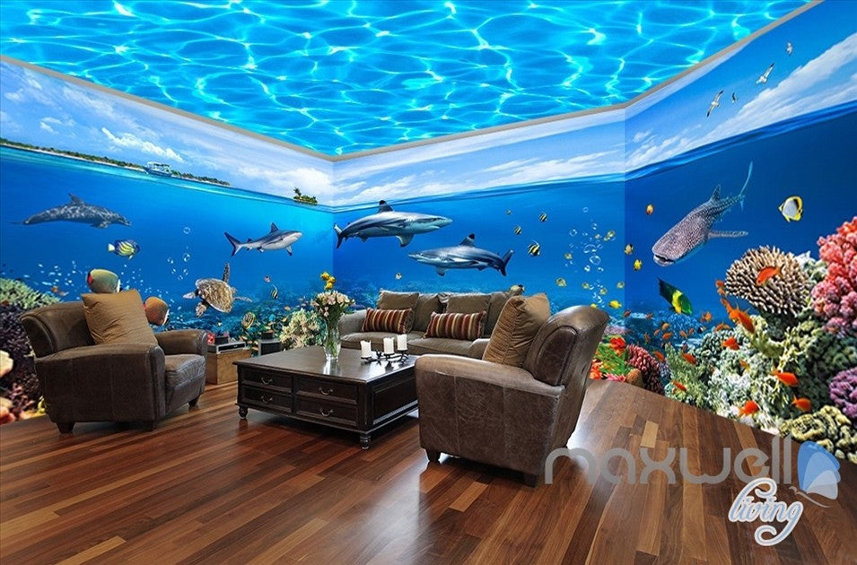 Fish tank ocean park theme space entire room wallpaper wall mural decal idcqw 000012