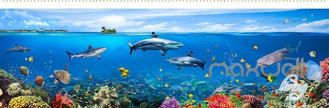 Image of Fish tank ocean park theme space entire room wallpaper wall mural decal IDCQW-000012
