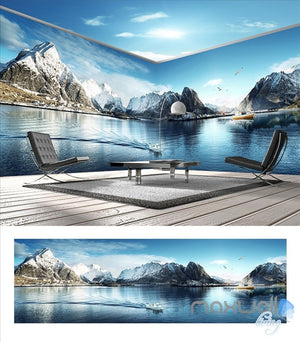 Snow Mountain Lake Theme Space entire room wallpaper wall mural decal IDCQW-000014