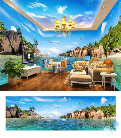 Image of Hawaii Sea view theme space entire room wallpaper wall mural decal IDCQW-000016