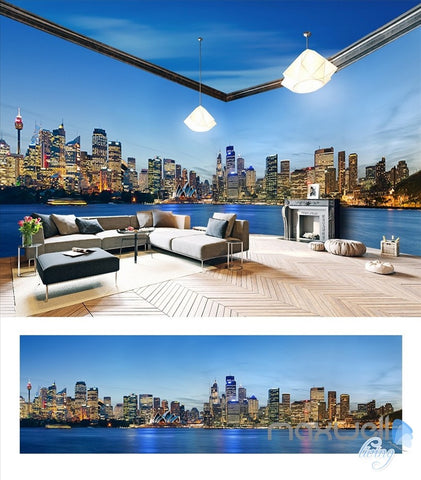Image of Sydney city Opera house theme space entire room 3D wallpaper wall mural decal IDCQW-000017