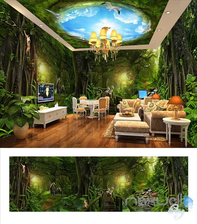 Deep forest forest theme space entire room wallpaper wall mural decal IDCQW-000018