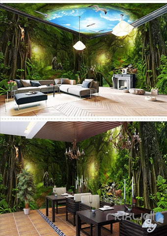 Image of Deep forest forest theme space entire room wallpaper wall mural decal IDCQW-000018