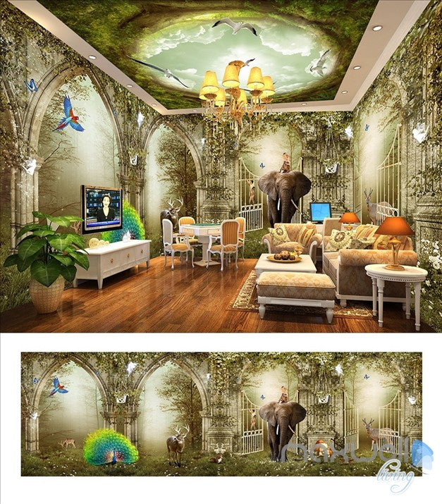 Fantasy fairy tale wonderland forest Arch entire room 3D wallpaper