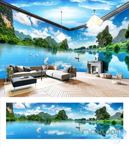 Image of Huguang Mountain theme space entire room wallpaper wall mural decal IDCQW-000023