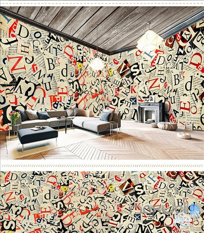 Image of Retro newspaper theme space entire room wallpaper wall mural decal IDCQW-000034