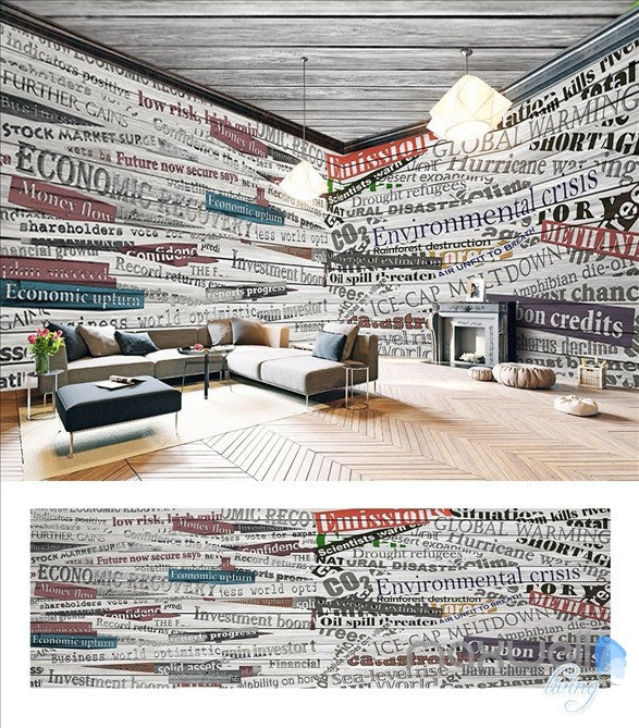 Retro nostalgic English theme space entire room wallpaper wall mural decal IDCQW-000035