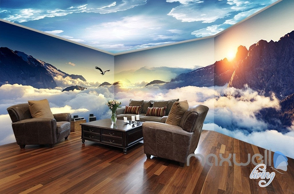 Cloud sea peak theme space entire room wallpaper wall mural decal
