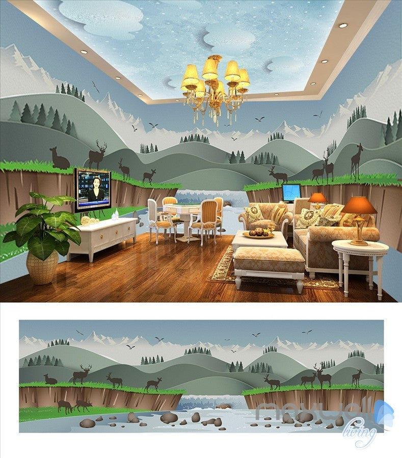 Creek elk cartoon theme space entire room wallpaper wall mural decal IDCQW-000037
