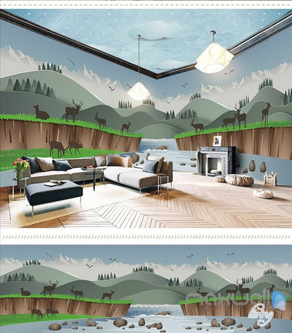 Image of Creek elk cartoon theme space entire room wallpaper wall mural decal IDCQW-000037