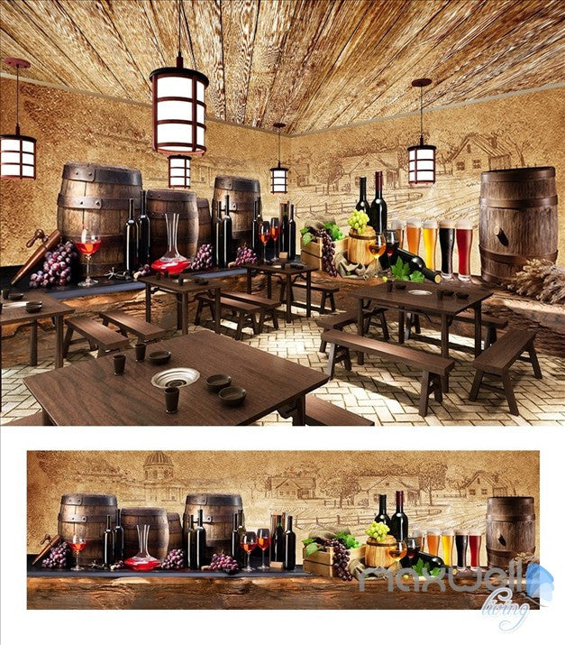 Vintage Pub Celler Beverages Theme Spaces entire room wallpaper wall mural decals IDCQW-000038