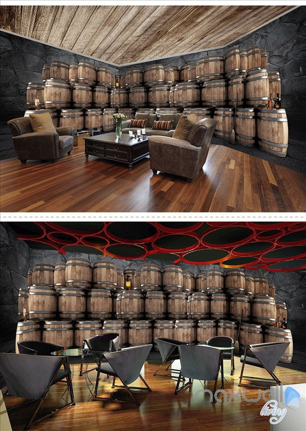 Cellar oak barrels theme space entire room wallpaper wall mural decal IDCQW-000039