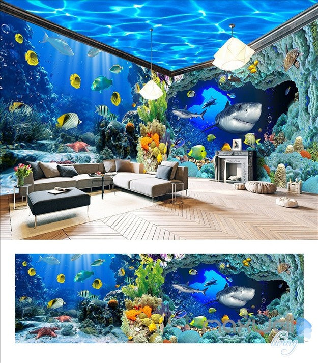 Underwater world aquarium shark fish reef entire room 3d for 3d aquarium wallpaper for bedroom