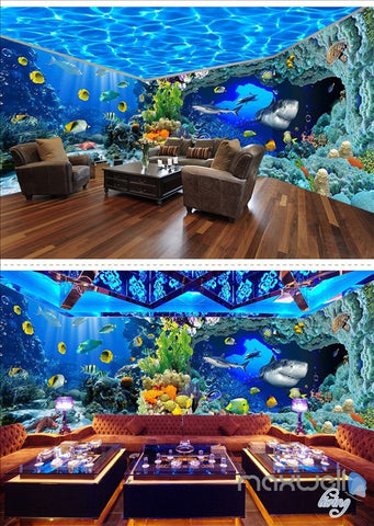 Underwater world aquarium theme space entire room wallpaper wall mural decal IDCQW-000040