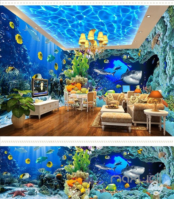 Underwater world aquarium shark fish reef entire room 3d for Aquarium mural
