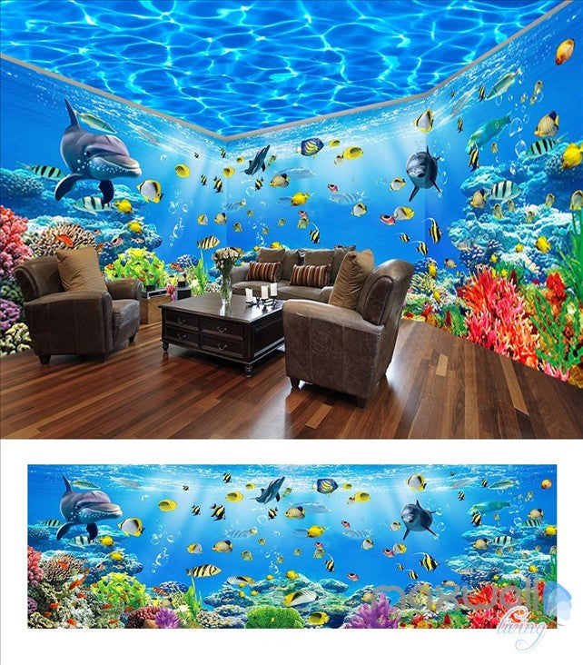 Underwater world theme space entire room wallpaper wall mural decal IDCQW-000042