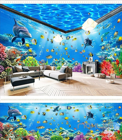 Image of Underwater world theme space entire room wallpaper wall mural decal IDCQW-000042