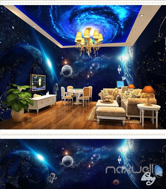 Space planet sky theme space entire room wallpaper wall mural decal IDCQW-000043