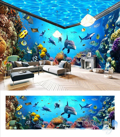 Underwater world aquarium theme space entire room wallpaper wall mural decal IDCQW-000044