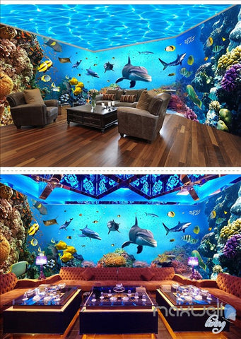 Image of Underwater world aquarium theme space entire room wallpaper wall mural decal IDCQW-000044