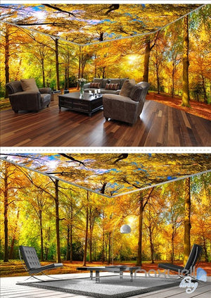 Maple forest theme space entire room wallpaper wall mural decal IDCQW-000045