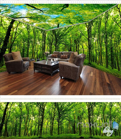 Image of Virgin forest Morning Sunrise theme space entire room wallpaper 3D wall mural decal IDCQW-000046