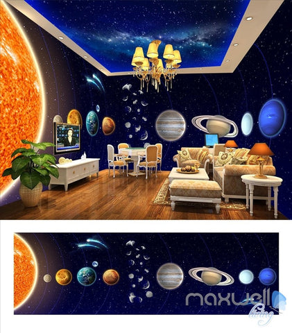 Image of Solar system planet theme space entire room wallpaper wall mural decal IDCQW-000048