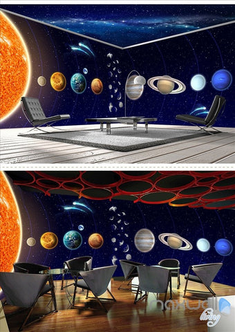 Solar system planet theme space entire room wallpaper wall mural decal IDCQW-000048