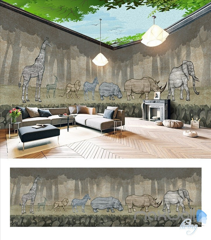 Animal park theme space entire room wallpaper wall mural decal IDCQW-000050