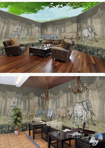 Image of Animal park theme space entire room wallpaper wall mural decal IDCQW-000050