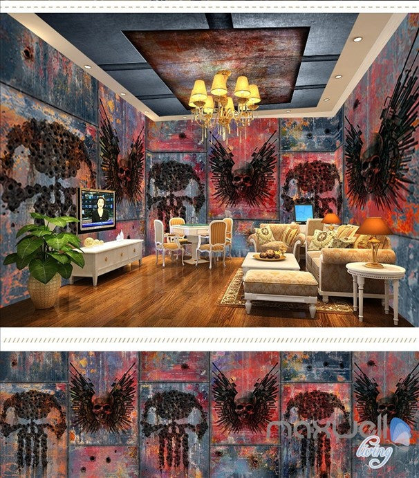 Metal iron plate horror theme space entire room wallpaper wall mural decal IDCQW-000051