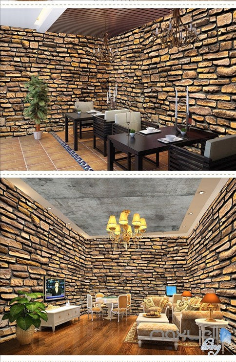 Retro brick wall theme space entire room wallpaper wall mural decal IDCQW-000052