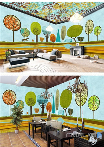 Image of Hand painted woods theme space entire room wallpaper wall mural decal IDCQW-000053