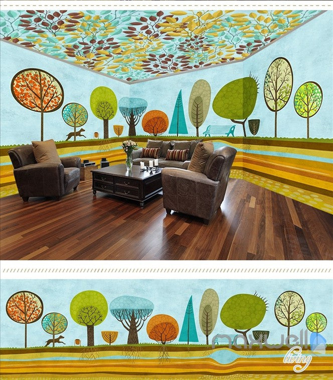 Hand painted woods theme space entire room wallpaper wall mural decal IDCQW-000053