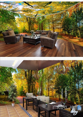 Woods park Autumn Forest Tree Top theme entire room 3D wallpaper wall mural decal art print IDCQW-000054