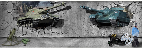 Image of 3D tank broken wall entire room wallpaper wall mural decal IDCQW-000055