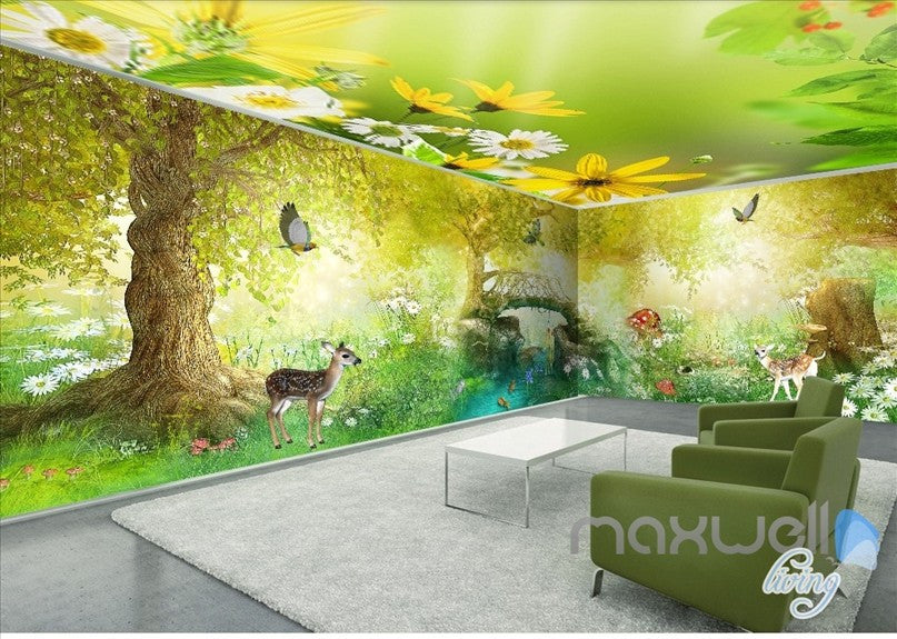 Fairy tale forest deer butterfly entire kids room for Fairy forest mural